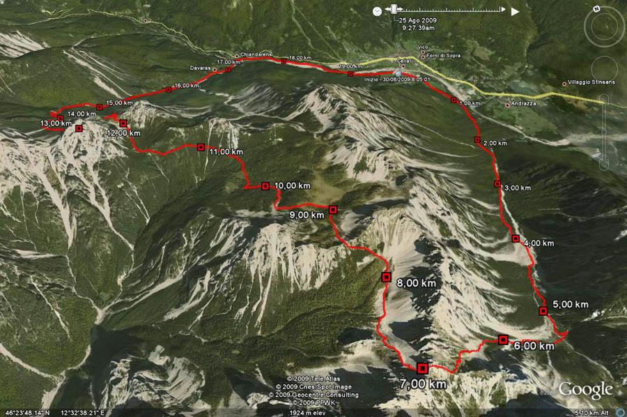 Cartina 3d Dolomiti.Mappa Del Percorso